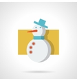 Snowman with blue hat flat color icon vector image vector image