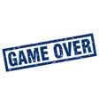 square grunge blue game over stamp vector image vector image
