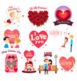 valentines day clipart icon set vector image