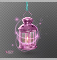 vintage luminous lantern of pink color with vector image