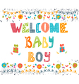 Welcome baby boy Baby boy arrival postcard Baby vector image vector image