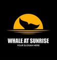 whale at sunrise logo design vector image vector image