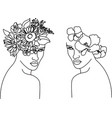 woman head with flowers one line drawing vector image vector image