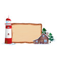 wooden board and winter house vector image
