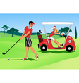 Young couple playing golf vector image