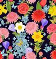 colorful floral design on dark background seamless vector image