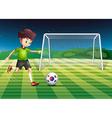 A boy kicking the ball with the South Korean flag vector image vector image