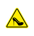 attention woman yellow prohibitory road sign vector image vector image