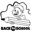 boy with crayon back to school cartoon color book vector image vector image