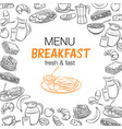 breakfast outline banners vector image vector image