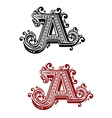 Capital letter A with flourishes vector image