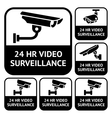 CCTV labels set symbols video surveillance vector image vector image