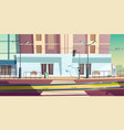 city street with car road and tram rails vector image vector image