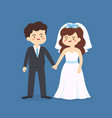 cute bride and groom wedding couple invitation vector image