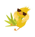 cute little yellow duckling character wearing vector image vector image