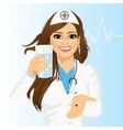 doctor offering a pill with glass of water vector image vector image