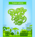 earth day banner with eco city and green house vector image vector image