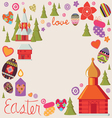 easter card with a set of art elements vector image vector image