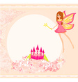 fairy with magic wand flying above castle vector image vector image