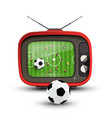 football on tv - soccer game with ball on vector image vector image