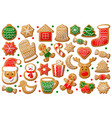 gingerbread cookie in christmas and new year vector image