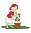 girl picking up flower