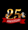 golden 25 years anniversary template with red vector image vector image