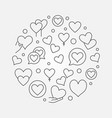 hearts round outline modern vector image