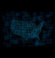 hud map usa futuristic digital dark blue vector image