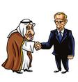 king salman and vladimir putin cartoon vector image vector image