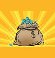 large bag of american dollars vector image vector image