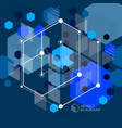lines and shapes abstract isometric 3d blue black vector image vector image