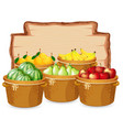 many fruit on wooden board vector image