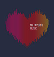 musical waves in the shape of a heart in the vector image vector image