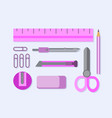 office supplies flat set pink vector image vector image