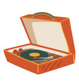 old school vinyl player with plate and needle vector image vector image