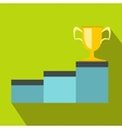 Pedestal and winner cup icon flat style vector image vector image