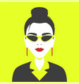 portrait a girl in geometric pop art style vector image vector image