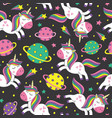 seamless pattern with little unicorns in space vector image vector image