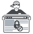 Secure website - internet swindler or hacker vector image vector image