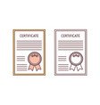 set certificates with seal and ribbon isolated vector image vector image