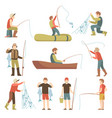 summer fishing sport vacation flat icons vector image
