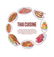 thai cuisine poster with asian dishes vector image vector image