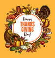 thanksgiving sketch poster or greeting card vector image vector image