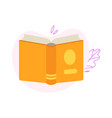 turned back open book with view of yellow vector image vector image