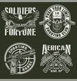 vintage military emblems set vector image vector image