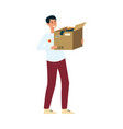 volunteer holding box clothes donation vector image