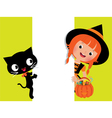 Witch Halloween her cat and a white banner vector image vector image