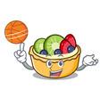 with basketball fruit tart character cartoon vector image