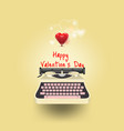 yellow typewriter write a message of love red vector image vector image